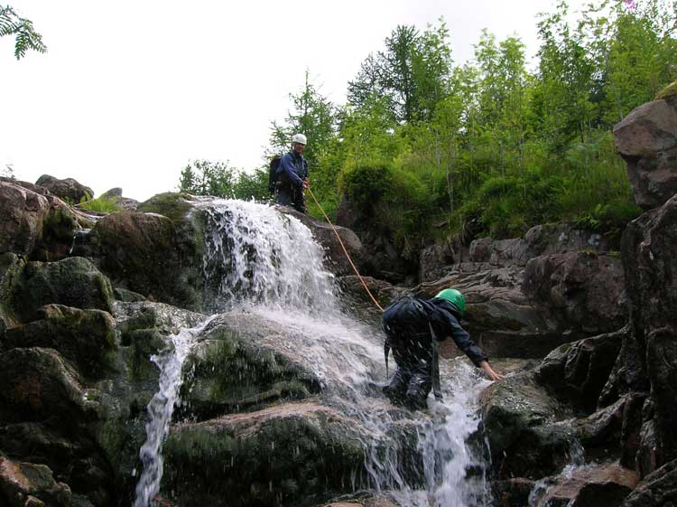 Careful footwork is required to climb the cascades